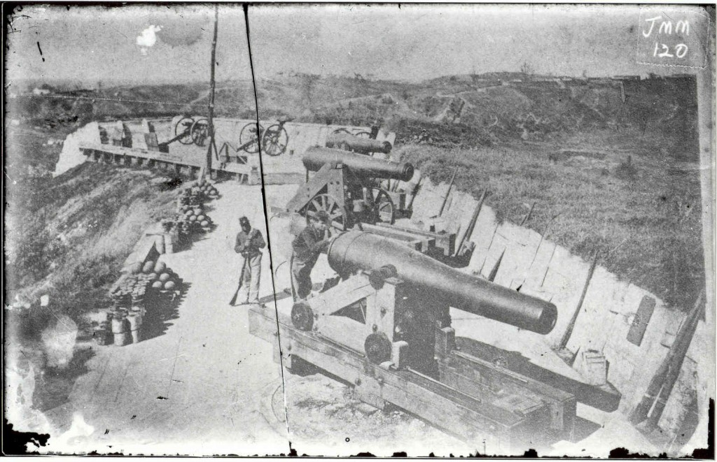 Battery Sherman, one of the Union Fortifications defending Vicksburg after the siege, circa 1864. After Vicksburg surrendered, General Grant ordered that all of the ditches and approaches used by the Union Army during the siege be filled in so that they could not be used by an attacker against the city. In the winter of 1863-1864, a new defensive line was dug, much shorter than the first, only five miles in length that could be held by a small garrison. Battery Sherman was one of the artillery emplacements along this new line, located on the Jackson Road entrance to the city.